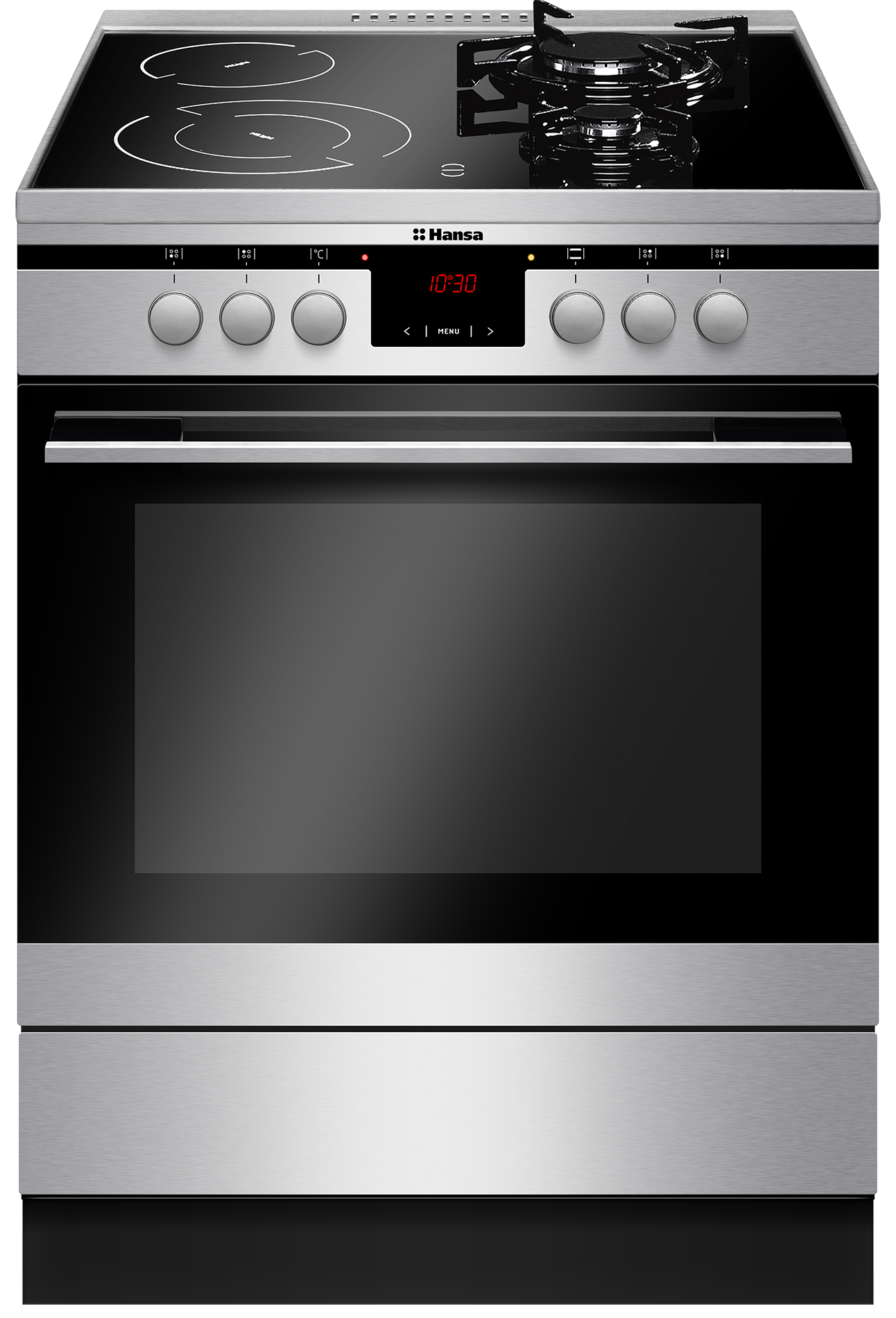 Freestanding cooker with mix hob